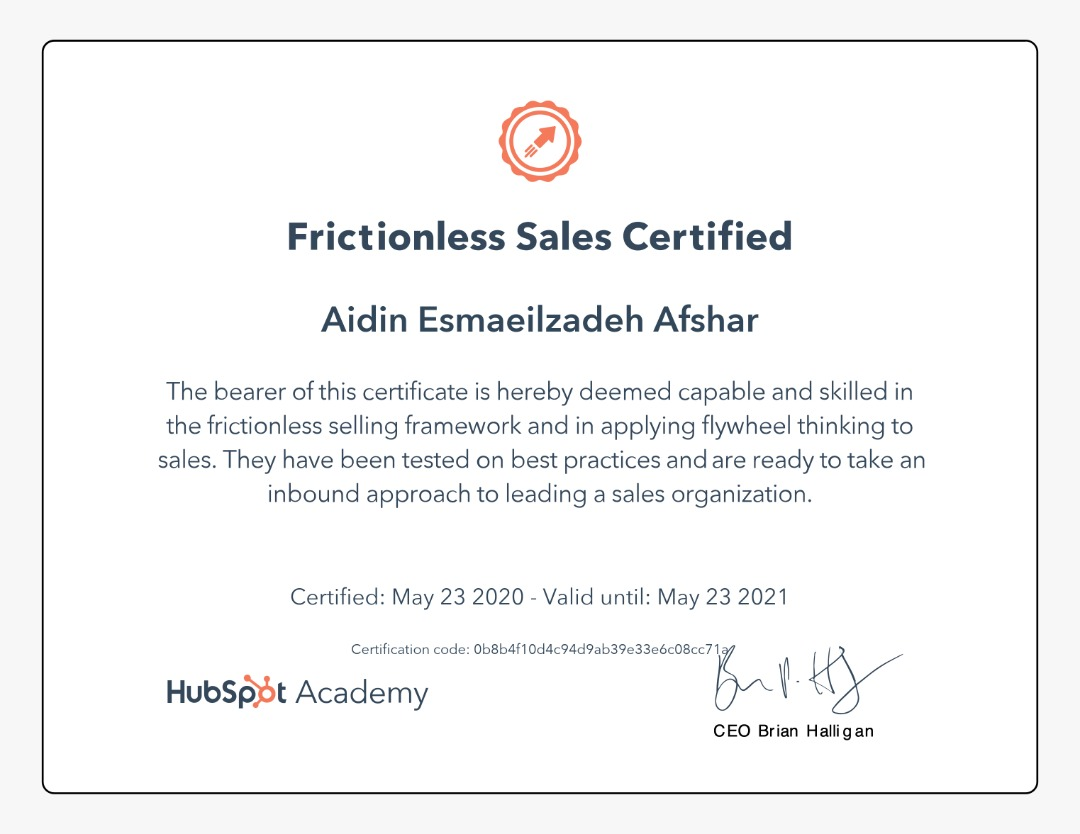 Aidin Afshar - Frictionless Sales Certified