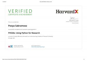 HarvardX PH526x Certificate